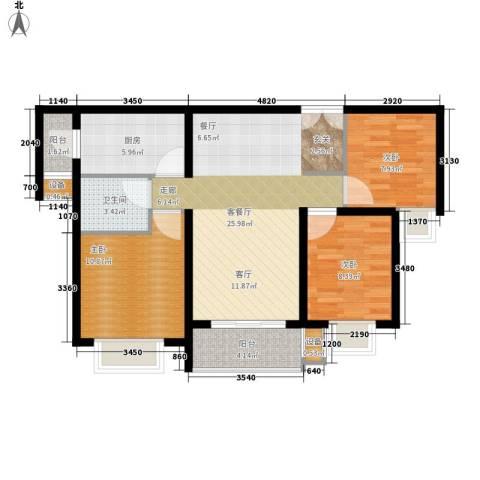 大观天下3室1厅1卫1厨80.00㎡户型图