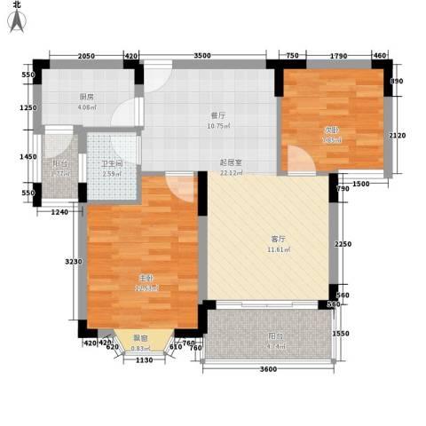 中银公寓2室0厅1卫1厨80.00㎡户型图