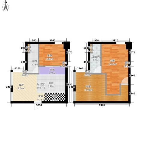 中城国际心岛公寓2室0厅1卫1厨85.00㎡户型图
