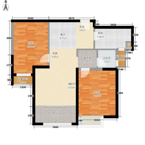 荷堂2室1厅1卫1厨100.00㎡户型图