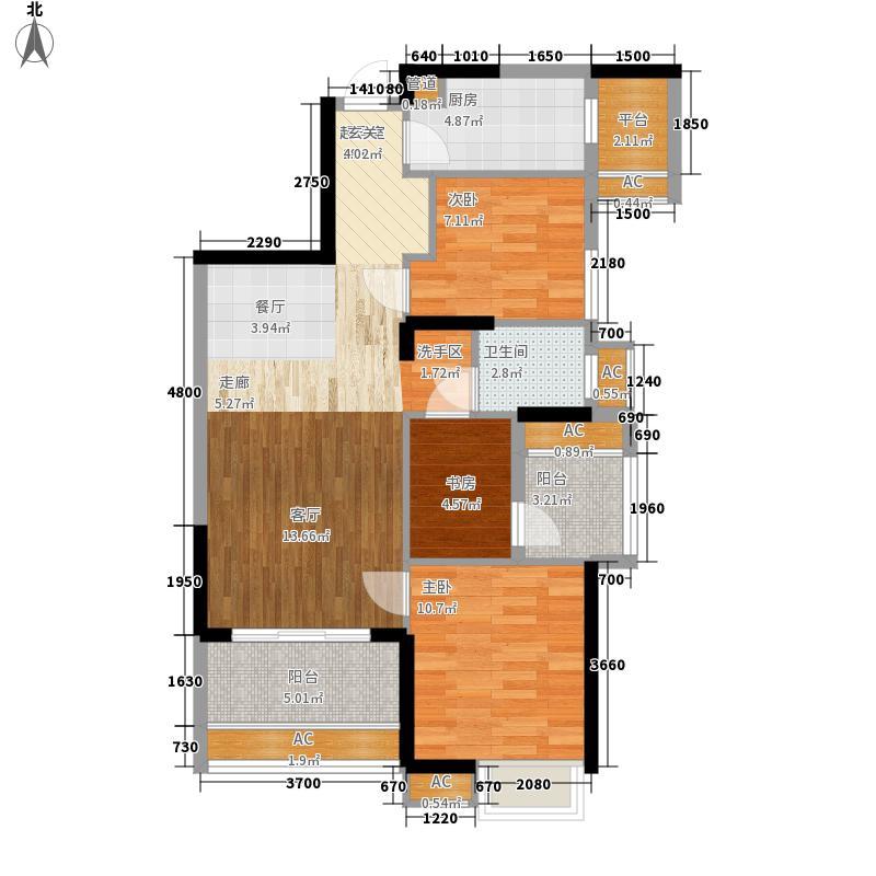 保利时代91.00㎡户型2室2厅