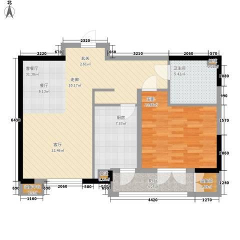洛卡小镇1室1厅1卫1厨73.11㎡户型图