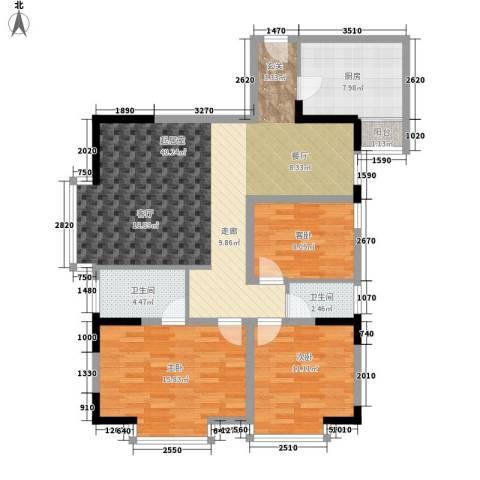 桃花源小区3室0厅2卫1厨104.00㎡户型图