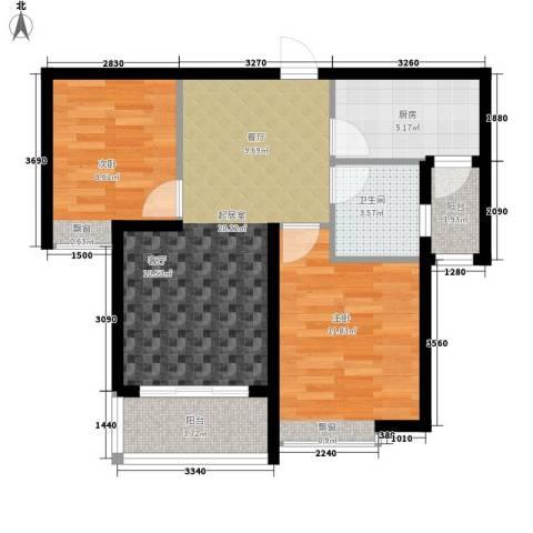 恒大绿洲2室0厅1卫1厨63.00㎡户型图