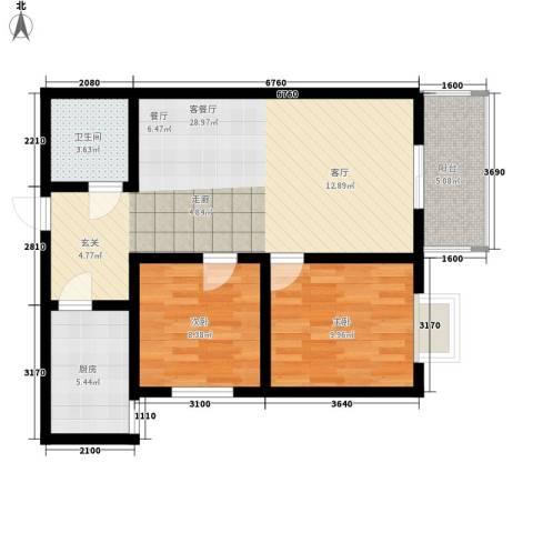 湖畔佳苑2室1厅1卫1厨89.00㎡户型图