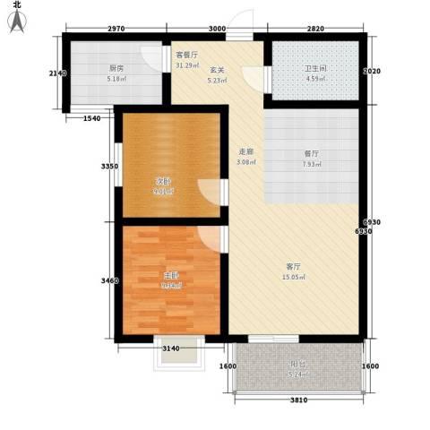 湖畔佳苑2室1厅1卫1厨92.00㎡户型图
