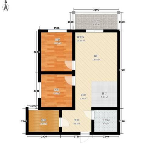湖畔佳苑2室1厅1卫1厨87.00㎡户型图