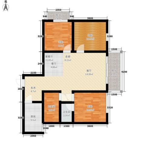 湖畔佳苑3室1厅2卫1厨117.00㎡户型图