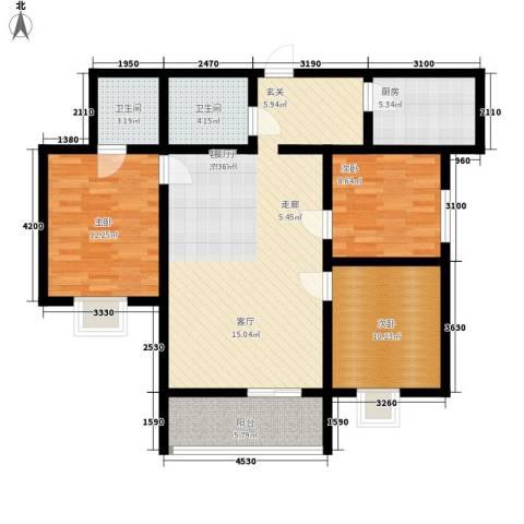 湖畔佳苑3室1厅2卫1厨120.00㎡户型图