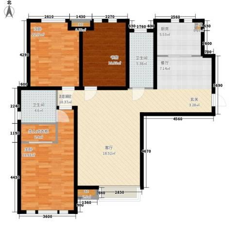 泰达御海3室0厅2卫1厨133.00㎡户型图