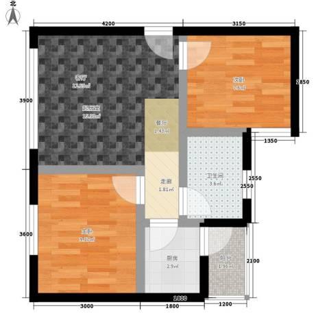 鑫城名都2室0厅1卫1厨54.00㎡户型图