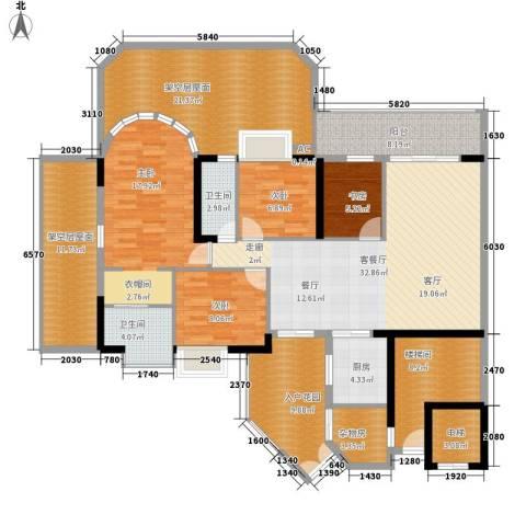 富力天河华庭4室1厅2卫1厨169.00㎡户型图