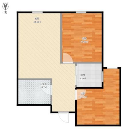 景山街2室1厅1卫1厨72.00㎡户型图