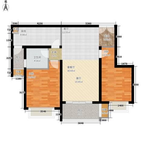大观天下2室1厅1卫1厨89.00㎡户型图