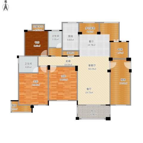 盐城恒隆花园3室1厅2卫1厨182.00㎡户型图