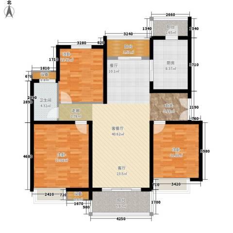 大观天下3室1厅1卫1厨123.00㎡户型图