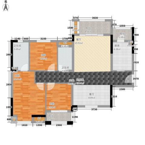 中海国际社区3室0厅2卫1厨142.00㎡户型图