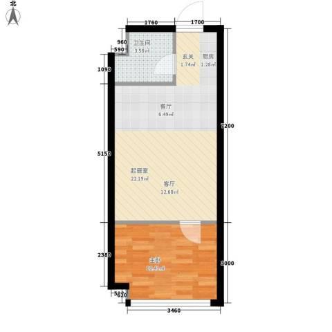 皇城壹號1室0厅1卫0厨57.00㎡户型图
