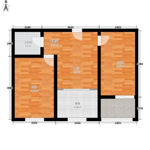 阳光新馨家园2室1厅1卫1厨67.00㎡户型图