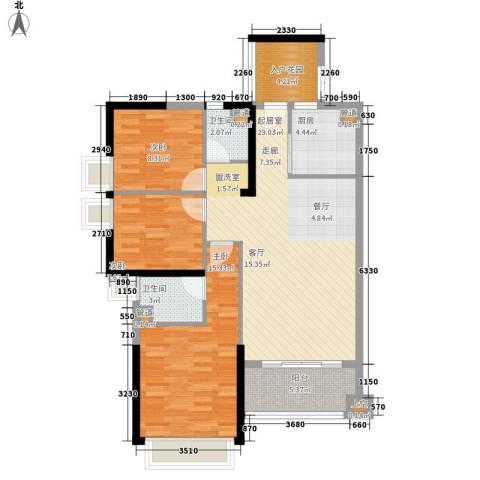 中洋公园首府3室0厅2卫1厨104.00㎡户型图