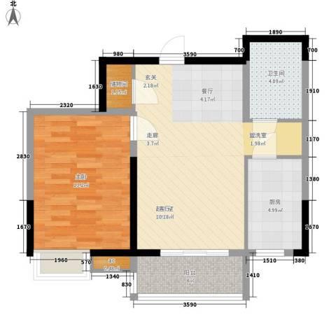 艺树澜庭1室0厅1卫1厨71.00㎡户型图