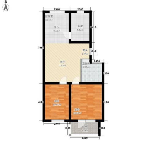 贵和花园三期2室0厅1卫1厨78.00㎡户型图