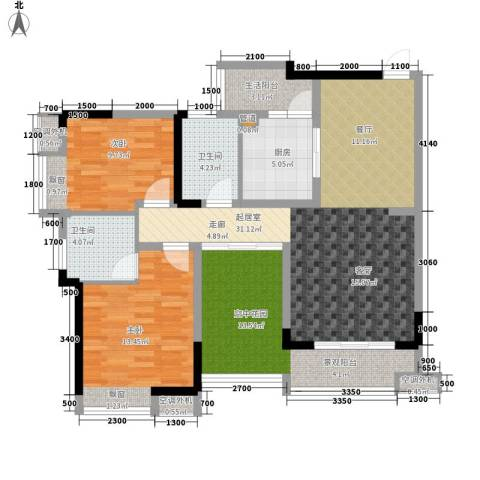 鑫城名都2室0厅2卫1厨117.00㎡户型图