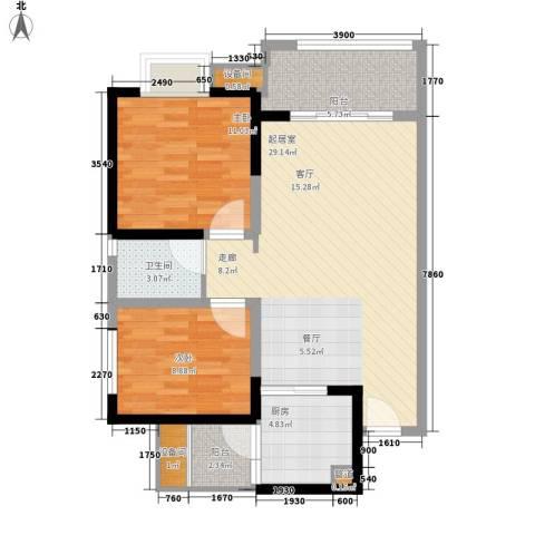 神州南都2室0厅1卫1厨82.00㎡户型图