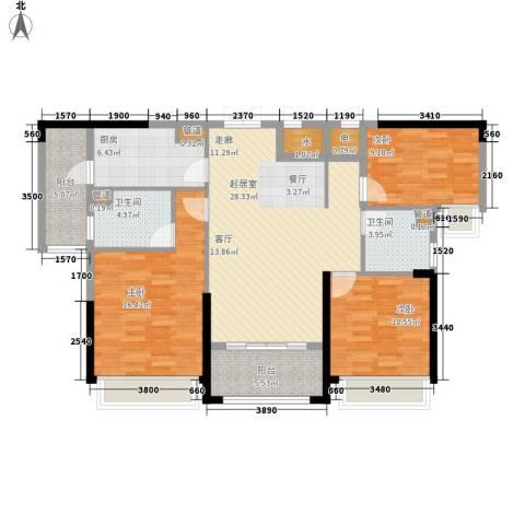 中洋公园首府3室0厅2卫1厨106.00㎡户型图