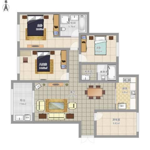 金鹰国际公馆3室1厅1卫1厨160.00㎡户型图