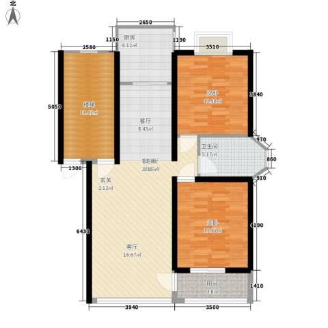 方圆兰庭2室1厅1卫1厨96.00㎡户型图
