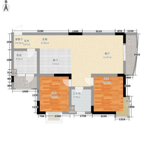 鸳鸯北湖郡2室1厅1卫1厨78.71㎡户型图