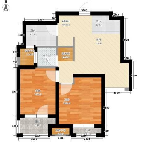 锦绣天地2室1厅1卫1厨67.00㎡户型图