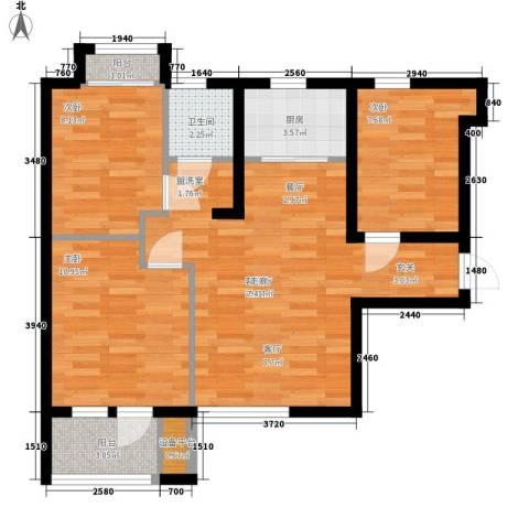 锦绣天地3室1厅1卫1厨84.00㎡户型图
