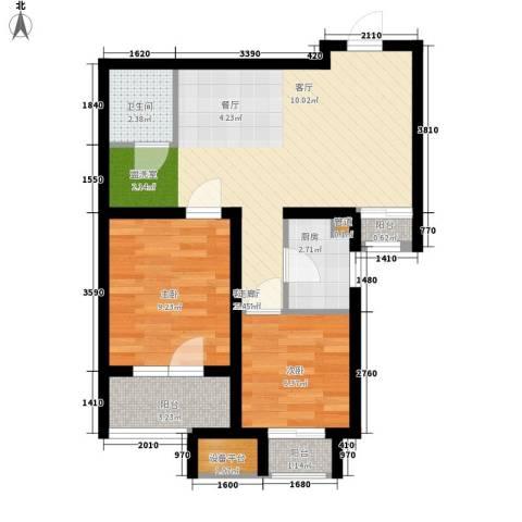 锦绣天地2室1厅1卫1厨64.00㎡户型图
