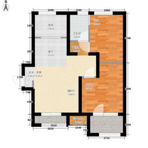 锦绣天地2室1厅1卫1厨75.00㎡户型图