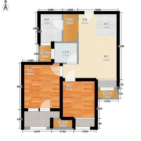 锦绣天地2室1厅1卫1厨63.00㎡户型图