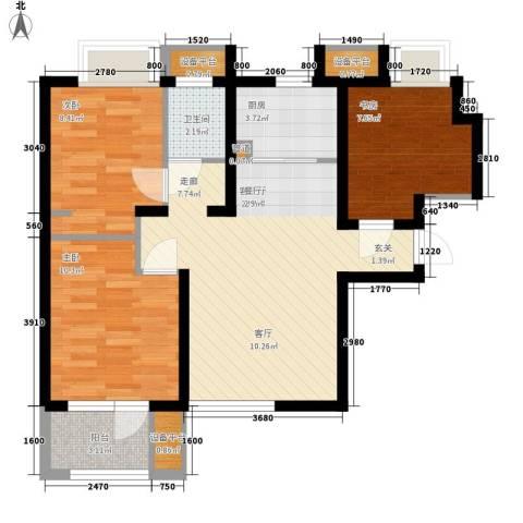 锦绣天地3室1厅1卫1厨88.00㎡户型图