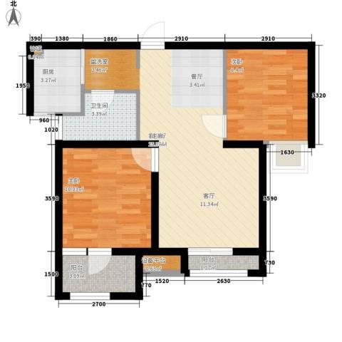 锦绣天地2室1厅1卫1厨77.00㎡户型图