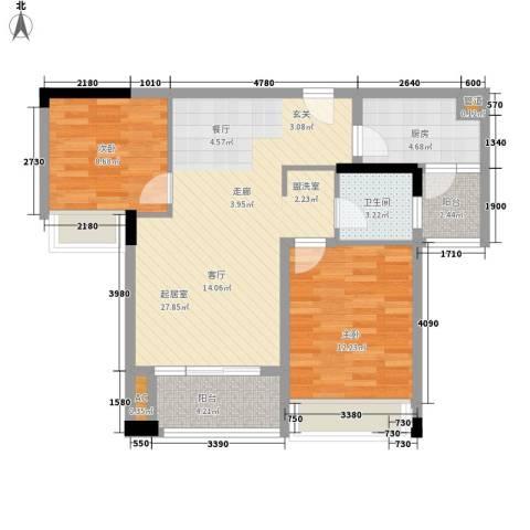 鹏基万林湖生态美墅2室0厅1卫1厨74.12㎡户型图
