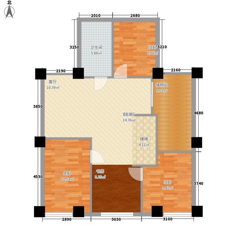 新天地都市广场64.00㎡复式A二层户型5室3厅
