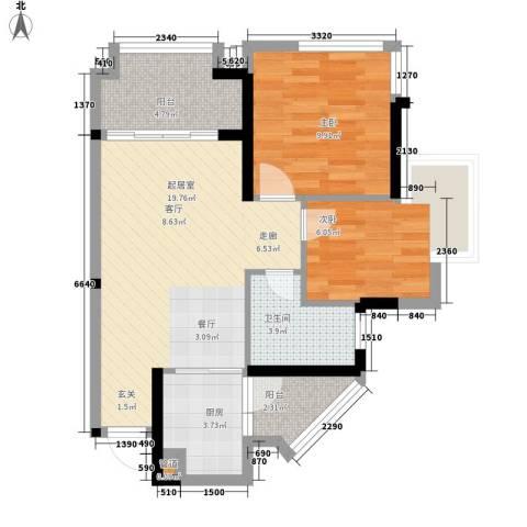 鹏基万林湖生态美墅2室0厅1卫1厨58.95㎡户型图