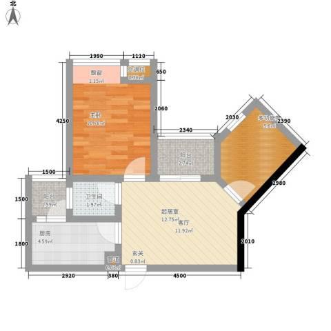 千山美林1室0厅1卫1厨53.00㎡户型图