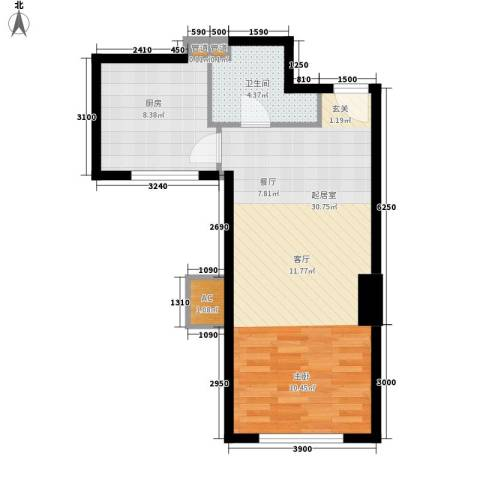 波尔多法式小公馆1卫1厨64.00㎡户型图