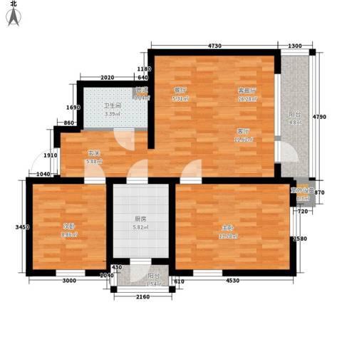 阳光100时光里二期2室1厅1卫1厨95.00㎡户型图