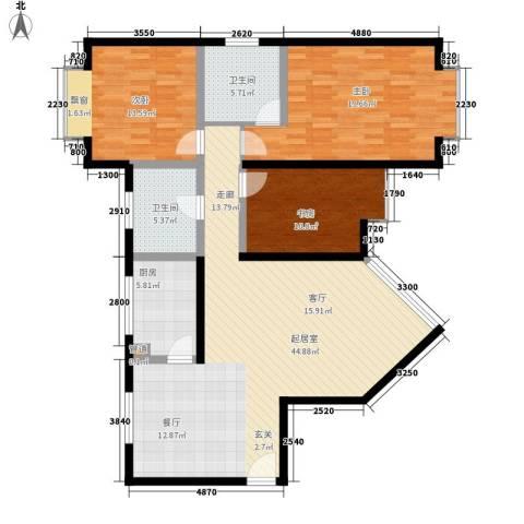 岭秀锦园3室0厅2卫1厨119.00㎡户型图