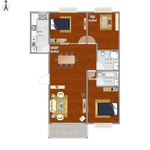 枫桥水岸3室1厅2卫1厨120.00㎡户型图