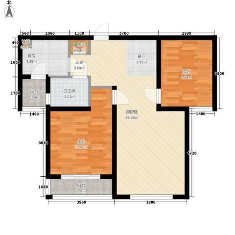 华翔世纪城2室0厅1卫1厨93.00㎡户型图