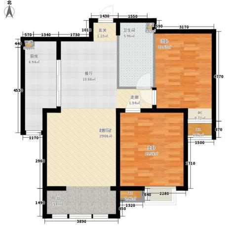 泰达御海2室0厅1卫1厨100.00㎡户型图