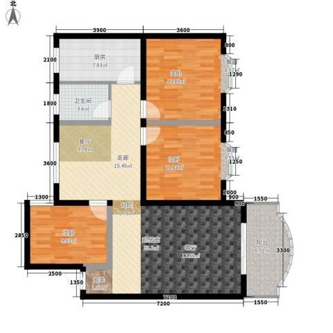 鑫城名都3室0厅1卫1厨111.00㎡户型图